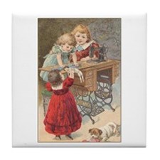Children at Sewing Machine Tile Coaster