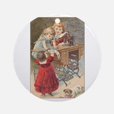 Children at Sewing Machine Ornament (Round)