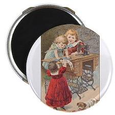 Children at Sewing Machine Magnet