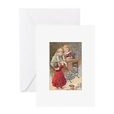 Children at Sewing Machine Greeting Card