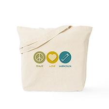 Peace Love Harmonica Tote Bag