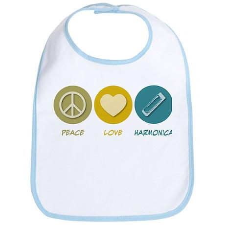 Peace Love Harmonica Bib