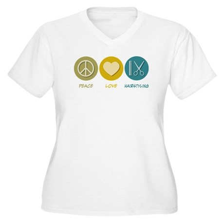 Peace Love Hairstyling Women's Plus Size V-Neck T-