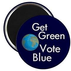 Get Green, Vote Blue Fridge Magnet