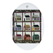 Church Quilt - Quilt Craft Oval Ornament