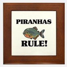 Piranhas Rule! Framed Tile