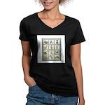 Bunny Rabbit Quilt Women's V-Neck Dark T-Shirt