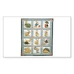 Bunny Rabbit Quilt Rectangle Sticker 50 pk)