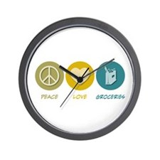 Peace Love Groceries Wall Clock