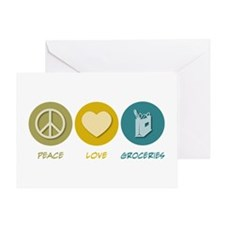 Peace Love Groceries Greeting Card