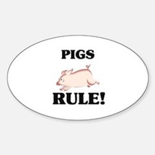 Pigs Rule! Oval Decal