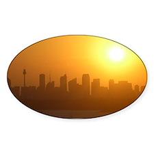 Sydney City Skyline Sunset Oval Decal
