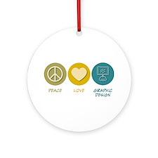 Peace Love Graphic Design Ornament (Round)