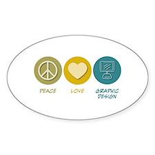 Peace Love Graphic Design Oval Sticker (10 pk)