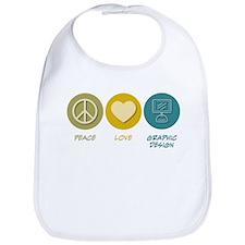 Peace Love Graphic Design Bib