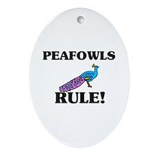 Peafowls Rule! Oval Ornament
