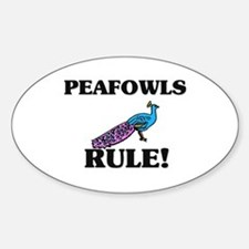 Peafowls Rule! Oval Decal