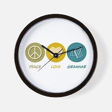 Peace Love Grammar Wall Clock