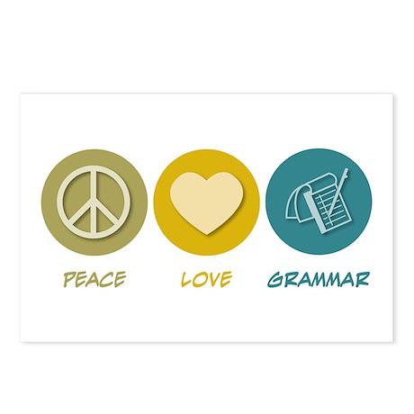 Peace Love Grammar Postcards (Package of 8)