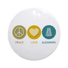 Peace Love Glockenspiel Ornament (Round)