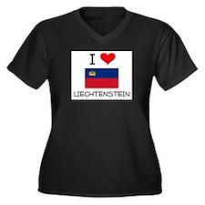 I Love Liechtenstein Women's Plus Size V-Neck Dark