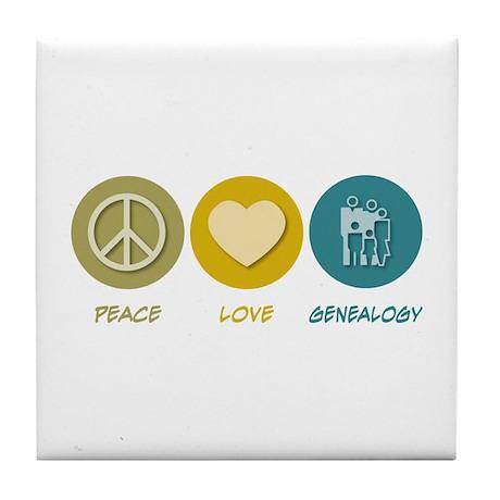 Peace Love Genealogy Tile Coaster
