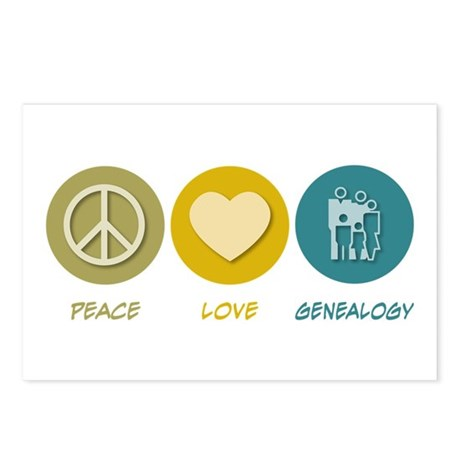 Peace Love Genealogy Postcards (Package of 8)