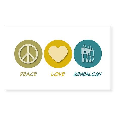Peace Love Genealogy Rectangle Sticker
