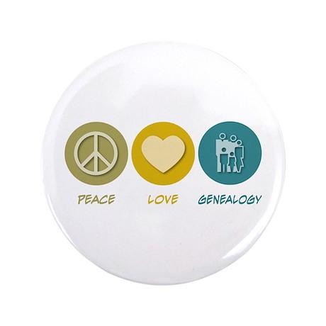 "Peace Love Genealogy 3.5"" Button"