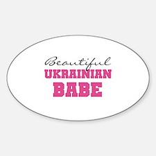 Ukrainian Babe Oval Decal