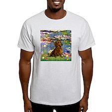 Dachshund in Monet's Lilies Ash Grey T-Shirt