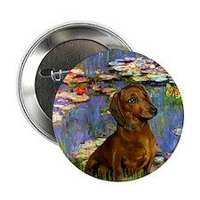 Dachshund in Monet's Lilies Button
