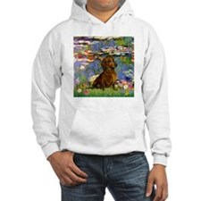 Dachshund in Monet's Lilies Hoodie