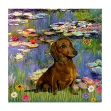 Dachshund in Monet's Lilies Tile Coaster