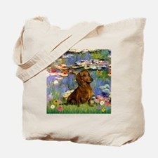 Dachshund in Monet's Lilies Tote Bag