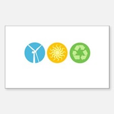 Wind, Solar, Recycle Rectangle Sticker 10 pk)