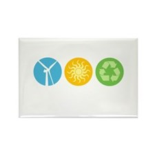 Wind, Solar, Recycle Rectangle Magnet