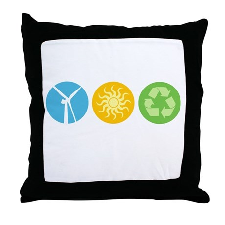Wind, Solar, Recycle Throw Pillow