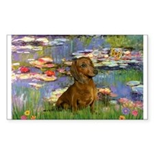 Dachshund in Monet's Lilies Rectangle Decal