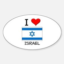 I Love Israel Oval Decal