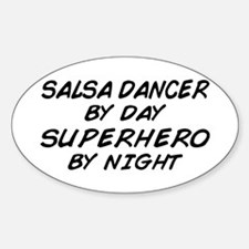 Salsa Dancer Superhero by Night Oval Decal