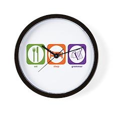 Eat Sleep Grammar Wall Clock