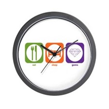 Eat Sleep Gems Wall Clock