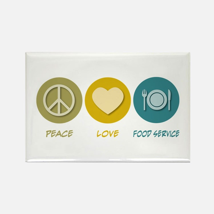 Peace Love Food Service Rectangle Magnet (100 pack