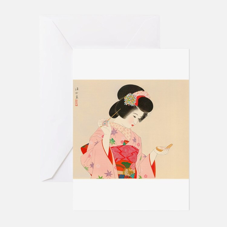 Vintage Japanese Geisha Lady Woman Greeting Cards