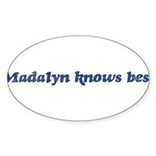 Madalyn knows best Oval Decal