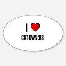 I LOVE CAT OWNERS Oval Decal