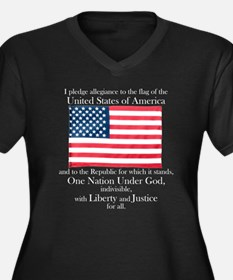 Pledge of Allegiance Womens Plus Size Black V-Neck