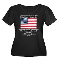 Pledge of Allegiance Women's Plus Size Black Tee