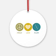 Peace Love Flute Ornament (Round)